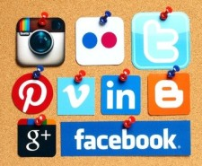 Social Media icons on corkboard