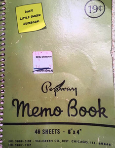 photo of Dad's vacation journal.