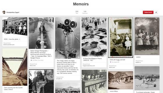 Screen shot of Pinteresr Memoir board