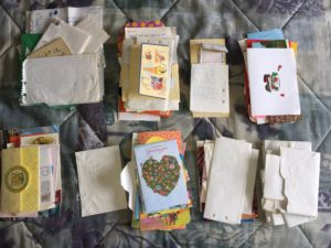 Photo of stacked old letters and greeting cards
